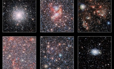 These cutout images show a few of the highlights from a huge new infrared image of our neighbouring galaxy, the Small Magellanic Cloud, that was taken with the VISTA telescope at ESO's Paranal Observatory. The lower-right panel shows the bright globular star cluster 47 Tucanae, which lies much closer to the Earth than the Small Magellanic Cloud.